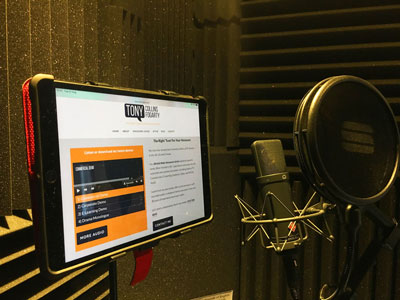 Voice over recording studio picture by Tony Collins Fogarty.  A British voice talent - experienced with US clients.