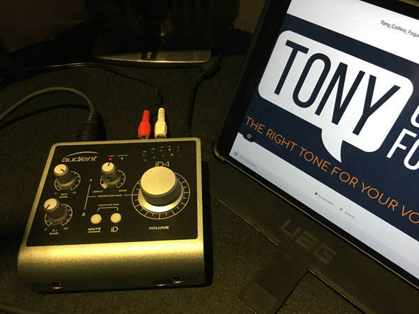 In booth Audio Interface.  Audient id4.  British Voice Talent Tony Collins Fogarty