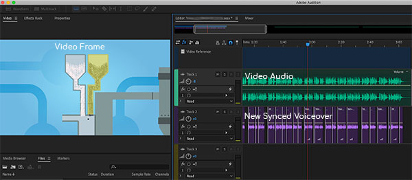 Dubbing session screenshot.  British voiceover is in purple on right.  The visual reference of the video is on the left.
