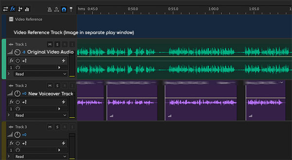 Photo of Dubbing Session audio in Adobe Audition.  The British voiceover is added and matched to the original.